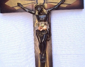 Cross CRUCIFIX holy Vintage Old Antique  CHRIST design  Metal wood Corpus Christ