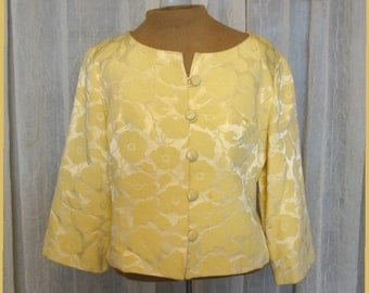 Vintage 60s - Yellow crop jacket with 3/4 sleeves and front buttons