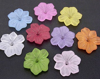 Frosted acrylic lucite blossom flower beads set of 5