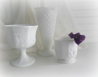 Milk Glass Vases Rustic Wedding Decor Farmhouse Planters Hobnail Milk Glass