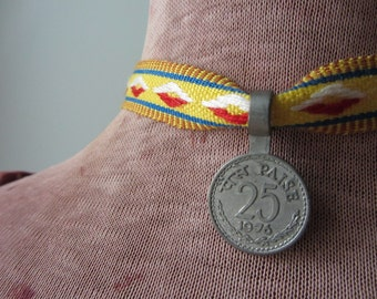 Grosgrain Ribbon Choker Necklace, 1976 Coin Necklace, Boho Chic Fabric Choker, Upcycled Repurposed Jewelry, Gifts under 10, Money Jewelry