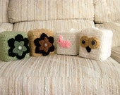 RESERVED FOR ALESSIA  4 Tissue Box Covers, Owl, Pink Bunny, Brown Flower, Green Flower,  Crochet Holder, Storage