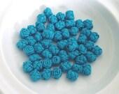 Moroccan art silk  beads/buttons,handmade, flowers rosebud, peacock blue  set of 50
