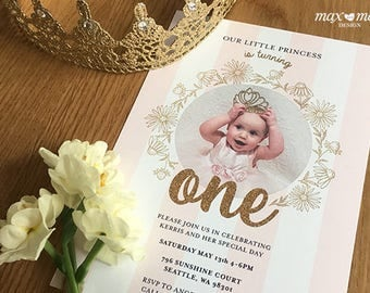 Princess Birthday Invitation, Made to order, Custom, Vintage - 5x7in