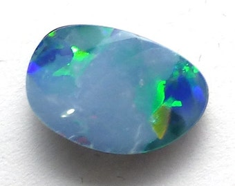 OPAL EVENT Australian Boulder Opal Cabochon Small Tiny Doublet Bright Cobalt Blue Black Jelly Fleshy Flashy Sparkle Pin Fire Perfect Stackin