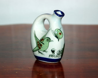 Ken Edwards, fully signed KE in a circle, with a wonderful Scorpion. Small Miniature Handled, Bird, Butterfly & Flowers Jug / Bottle / Syrup
