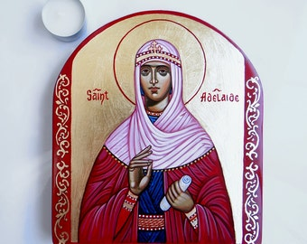 Saint Adelaide - handpainted icon, 8 by 7 inches