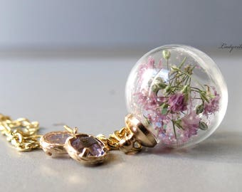 Necklace - Pink Blossoms and Glitter