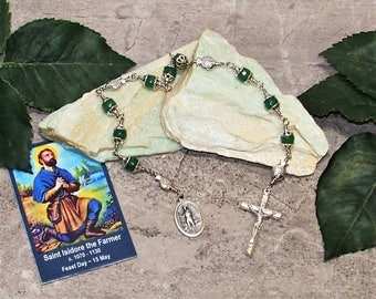 Unbreakable Catholic Chaplet of St. Isidore the Farmer - Patron Saint of Farmers, Ranchers, Laborers and Livestock - Heirloom Chaplet