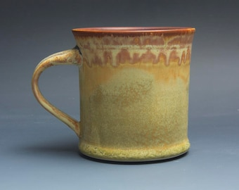 Handmade pottery coffee mug tea cup 16 oz, yellow amber tea cup 3868