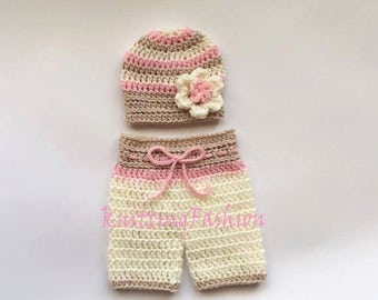 ON SALE 15% SALE Baby Girl Hat and Crochet Shorts _NewBorn Girl Crochet Outfit _Baby Girl First Outfit_ Newborn Baby Girl Crocheted Beanie a