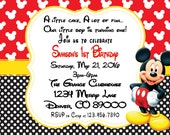 Printable PDF MIckey Mouse Birthday, 1st  birthday Invitation, happy birthday invitation