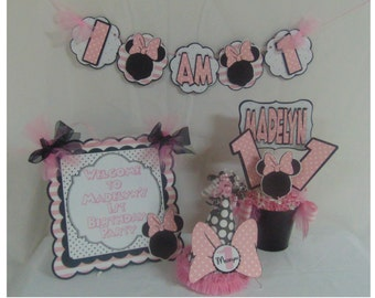Minnie Mouse Polka Dot-1st Birthday Party Package Happy Birthday banner, 1st year photo banner