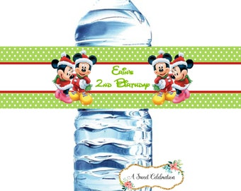 Mickey Mouse and Minnie Mouse Christmas birthday water bottle label (20)