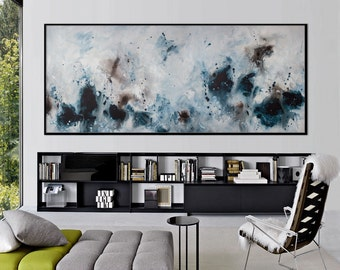 large print seascape painting blue black abstract painting horizontal large art ElenasArtStudio 583