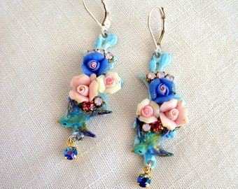 vintage romantic earrings roses pink and blue
