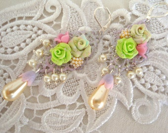 floral earrings green opal roses crystal, nacre and polymer