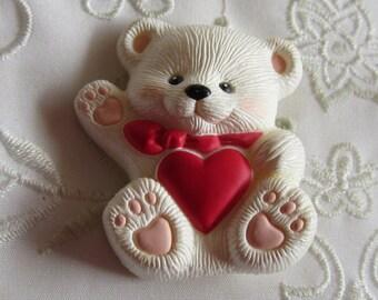 Vintage Hallmark Plastic White Valentine Bear Pin