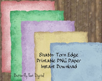 Printable Torn Edge Paper, Art Journal Pages, Unlined Stationery - Shabby Torn Edge, Tattered Edge, PNG Images 300 dpi , Instant Download