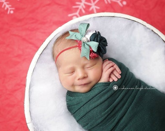 Berry Festive - red white green christmas headband singed satin rose chiffon bow