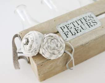 Old Fashioned- grey ivory neutral vintage double rosette headband bow