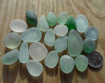 22 Pendant Pieces - Beautiful English Sea Glass- Free Shipping (4954)