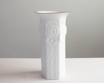 AK Kaiser Op Art West German White Floral Hexagonal Porcelain Vase