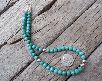 Turquoise necklace handmade with sterling silver 925 beads in 8mm
