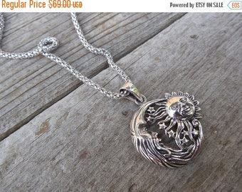 ON SALE Moon, stars and sun necklace handmade in sterling silver