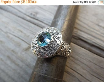 ON SALE Gorgeous blue topaz ring handmade in sterling silver