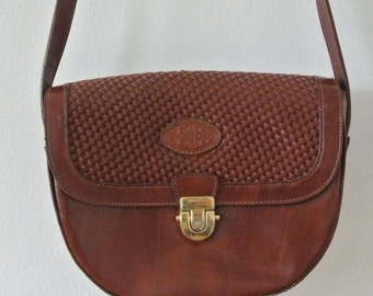 50% off cyber monday sale Vintage Brown Leather Satchel - Vintage Structured Leather Purse