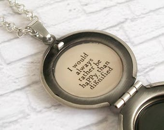 I Would Always Rather Be Happy Than Dignified Charlotte Bronte Quote Locket Necklace Jane Eyre Classic Literature Jewelry