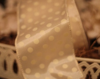 Satin Polka Dot Wired Ribbon