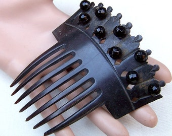 Victorian mourning hair comb steer horn French Jet hair accessory decorative comb hair jewelry headdress