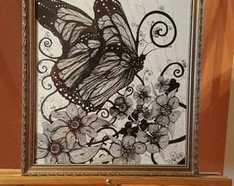 "Original Ink Drawing ""Butterfly"" by FRall"