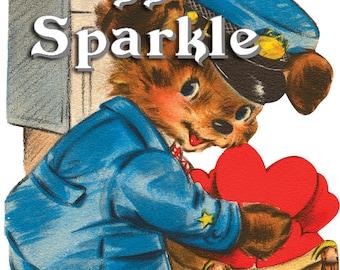 Mailman Puppy Valentine – Vintage Digital Download – Kitschy Cute Clipart –  2 Instant Download Printable Images –  Valentines Day