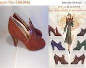 60% OFF SALE Trip That Light Fantastic - 1930s Burgundy Nubuck Leather Deco Design Heels - 8 1/2