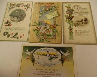 vintage postcards, old Christmas postcards, santa postcards, ch1306