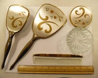 vintage dresser set, old dresser set, vintage mirror set, vintage hair set