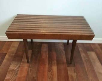 Vintage Mid Century Mod Slat Bench, Eames Era Coffe Table, Walnut, Small Bench  Yugoslavia