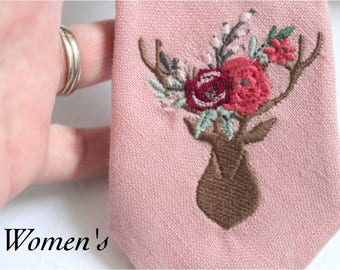 Embroidered Deer Bouquet Tie Necklace for Women