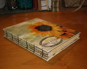Large Sunflower Journal, Art Journal, Anniversary Gift, Wedding Guest book, Floral Rustic Book, barn Wedding, Drawing book
