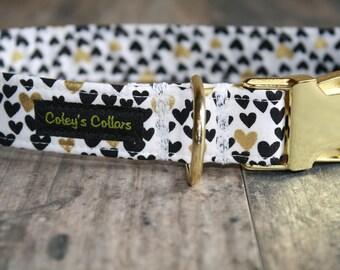 """Dog Collar """"Heart of Gold"""" Gold Hardware Dog Collar"""