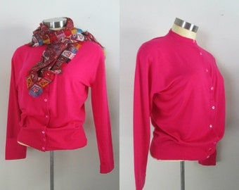 1960s Hot Pink Cardigan Made in England for Ohrbach's Button Down Bombshell Sweater