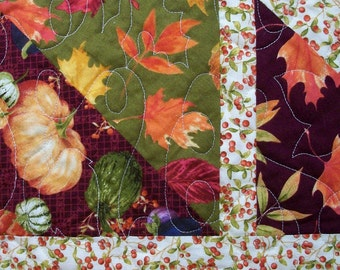 Fall Leaves Quilt Twin Size Lap Throw Quilted Quiltsy Handmade  FREE U.S. Shipping