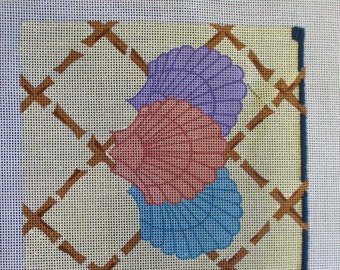 Needlepoint canvas handpainted Creative Creations seashells motif center is 7 inches square no yarn included no instruction