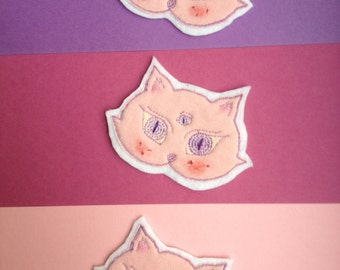 Cat Embroidery Patch pastel pink