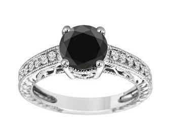 ON SALE 2.16 Carat Natural Black Diamond Engagement Ring, Wedding Ring Antique Vintage Style 14K White Gold Certified Handmade