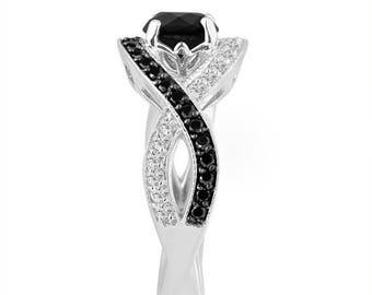 ON SALE Platinum Black Diamond Engagement Ring 1.52 Carat Unique Halo Pave Handmade Certified