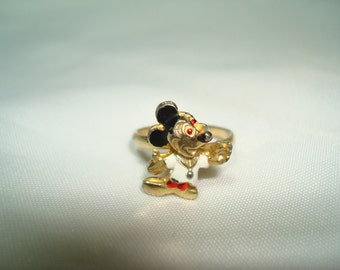 1972 Walt Disney Mickey Mouse Gold Tone with Enameling Ring.